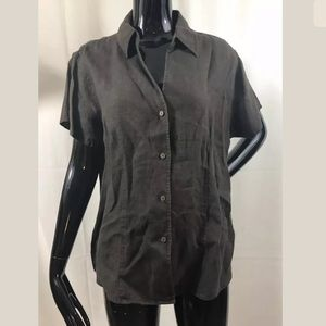 Chicos Brown Linen Button Down Shirt Top Size 2